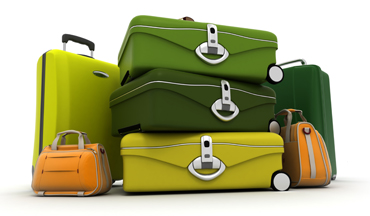 Baggage set in green and acid colours