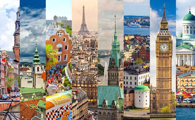 Európai városok - Utazás busszal, repülővel