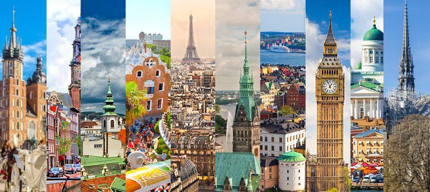 Európai városok, utazás busszal